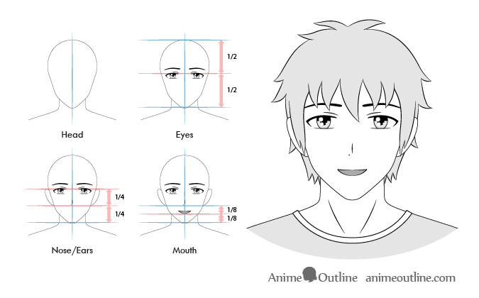 12 Anime Male Facial Expressions Chart Tutorial Animeoutline In 2020 Anime Guys Smile Drawing Facial Expressions