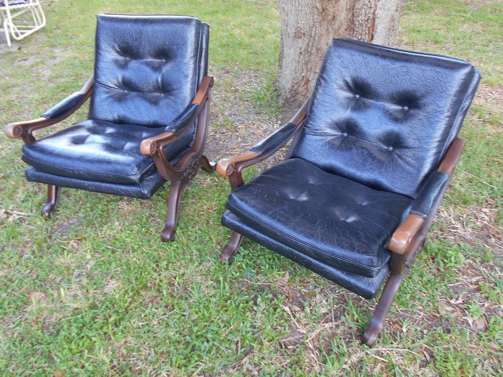 Mid Century Hollywood Regency Savonarola X Base Black Vinyl Lounge Chairs