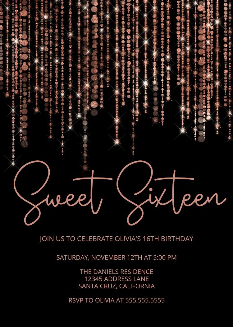 Rose Gold Invitations Sweet Sixteen Ideas 16th Birthday 18th 21st Edit Print Today
