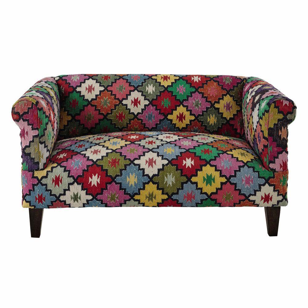 Canape 2 3 Places En Tressage Kilim Multicolore Maisons Du Monde Sofa Furniture Sofa Colors Stylish Sofa
