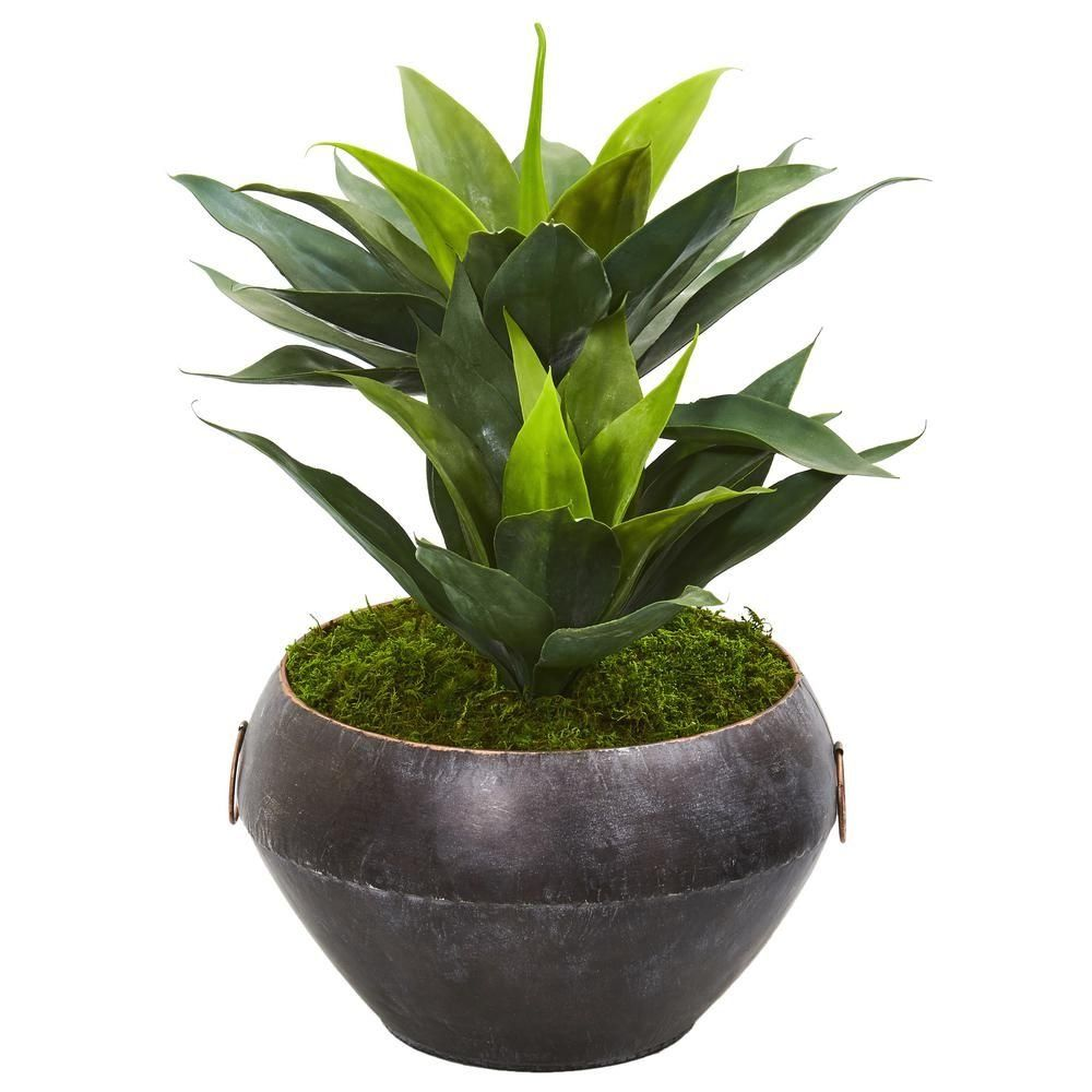 Nearly natural 21 in agave artificial plant in metal bowl