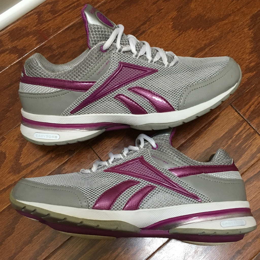 Reebok EasyTone Curve Leather Running Shoes Pink Women's