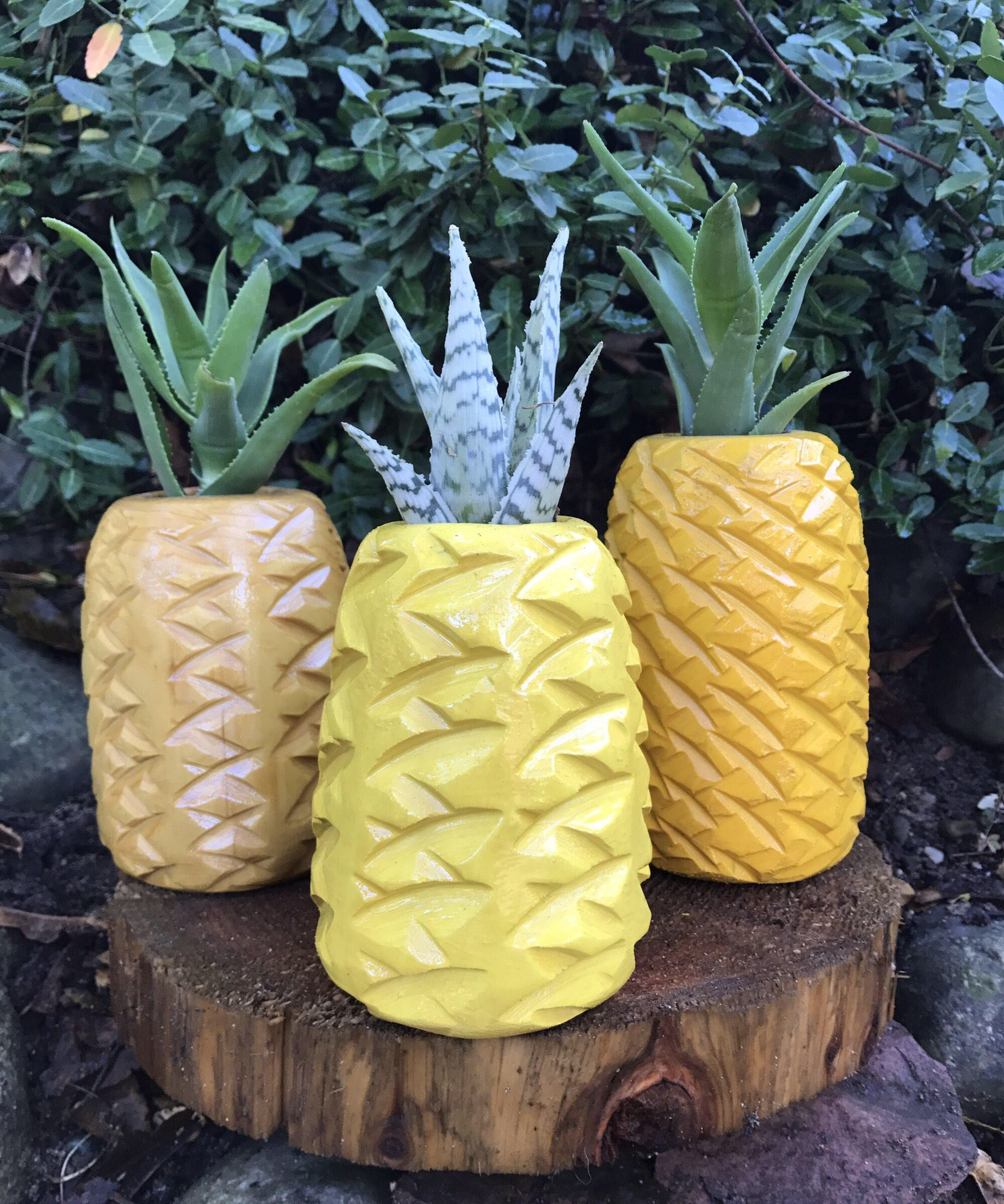 Pineapple Succulent Planter  Hand Carved Cedar By Tikibeave On
