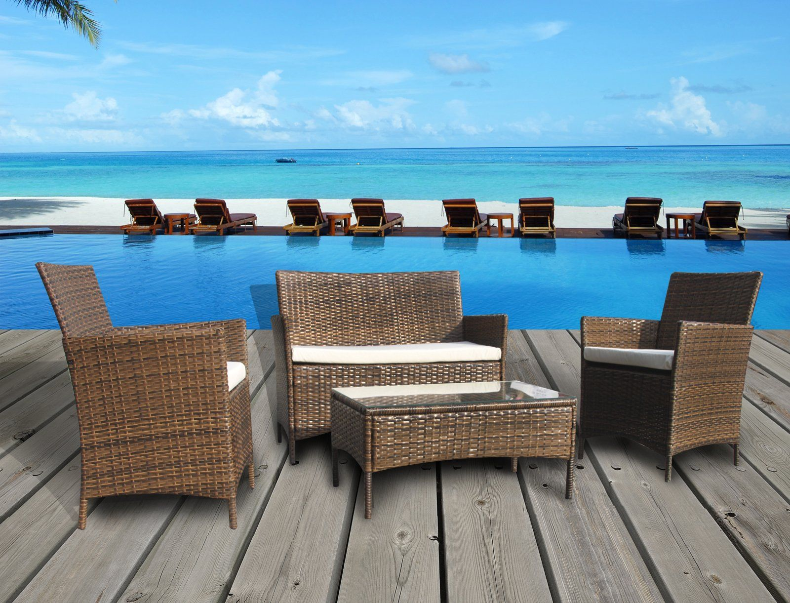 The French Riviera Collection   4 Pc Outdoor Rattan Wicker Sofa Patio  Furniture Set. Choice