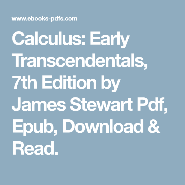 Calculus Early Transcendentals 7th Edition By James Stewart Pdf