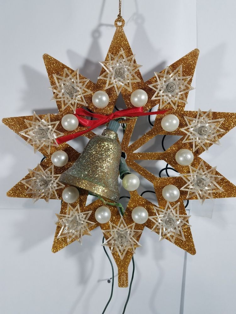 Vintage LIGHTED Christmas TREE TOPPER SNOWFLAKES Lighted christmas