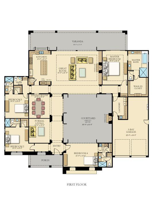4036 4 bedrooms 4 5 bathrooms don 39 t need this many for House plans with courtyards in center