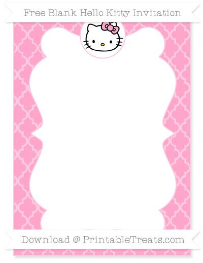 Free Carnation Pink Moroccan Tile Blank Hello Kitty ...