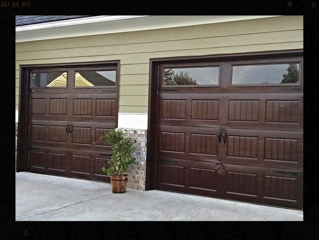Finished Product Gel Stained Aluminom Garage Doors To