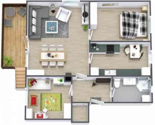 50 plans en 3D du0027appartements et maisons - Page 2 sur 6 Smallest - plan de maison simple