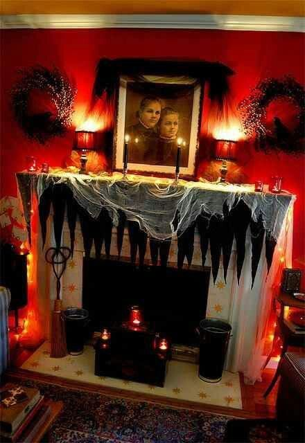 love this spooky red halloween living room fall autumn decorating decor halloween