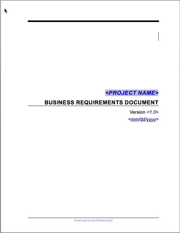 Simple Business Requirements Document Template Specification Sample