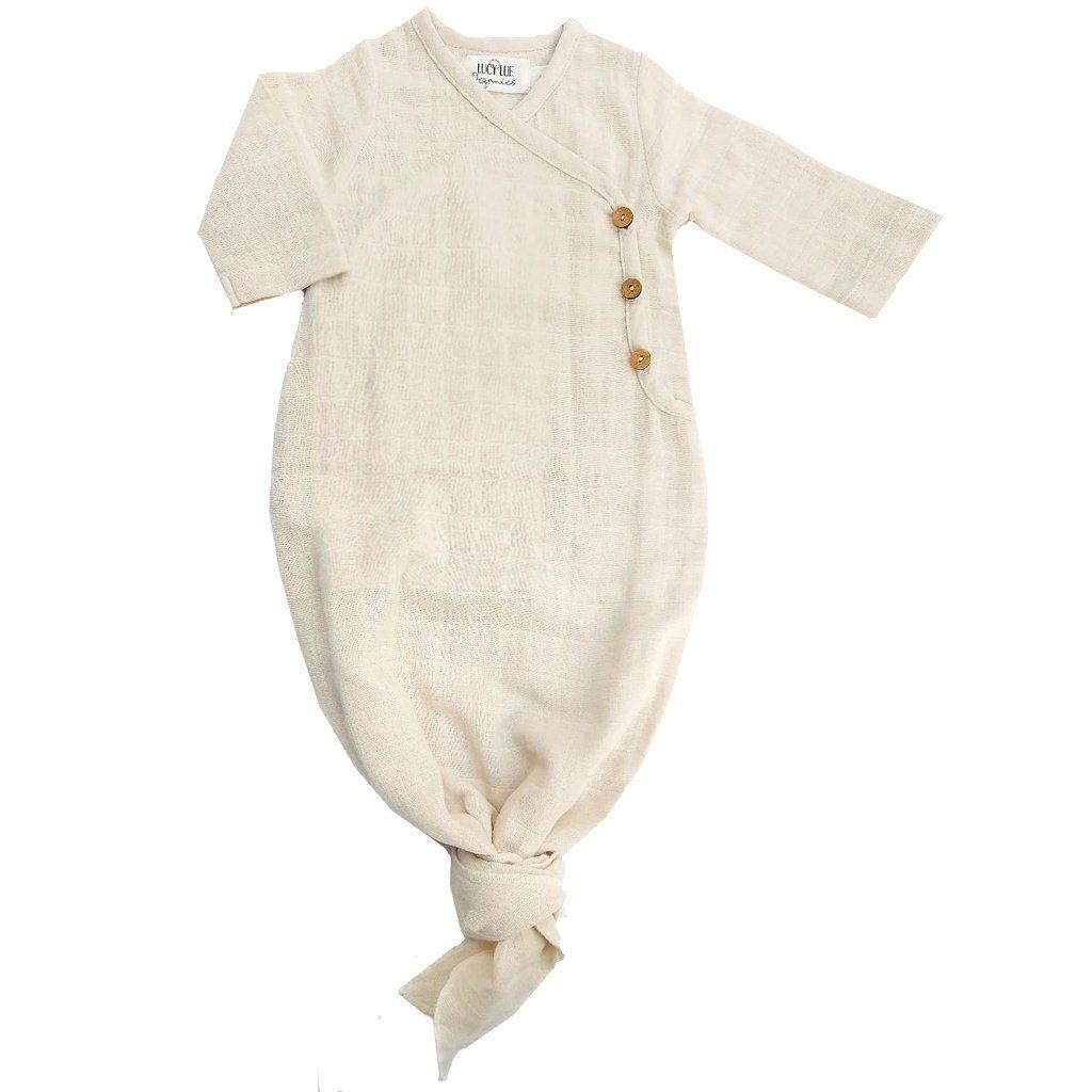 Lucy Lue Organics 0-3m Unisex-Baby Organic Baby Gown Rust