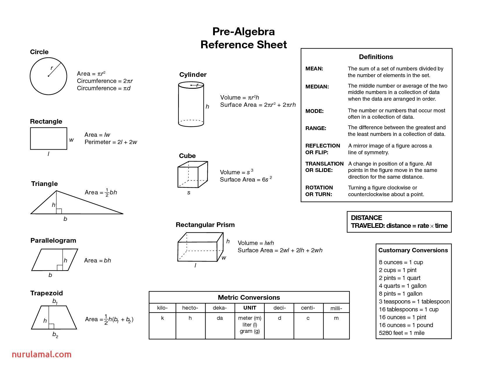 Pre Algebra Geometry Worksheets Algebraic Equations Chart