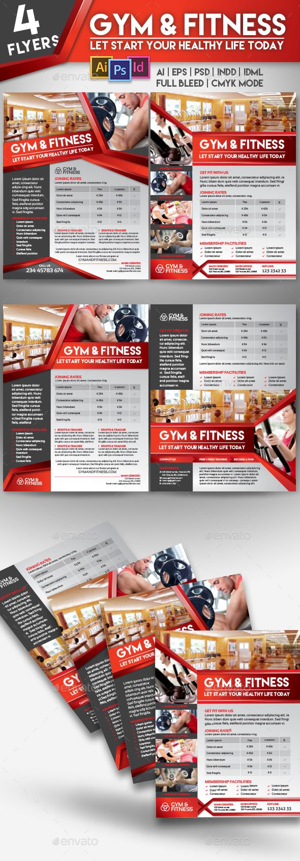 Fitness Gym Center  Flyer Templates  Gym Center Flyer Template