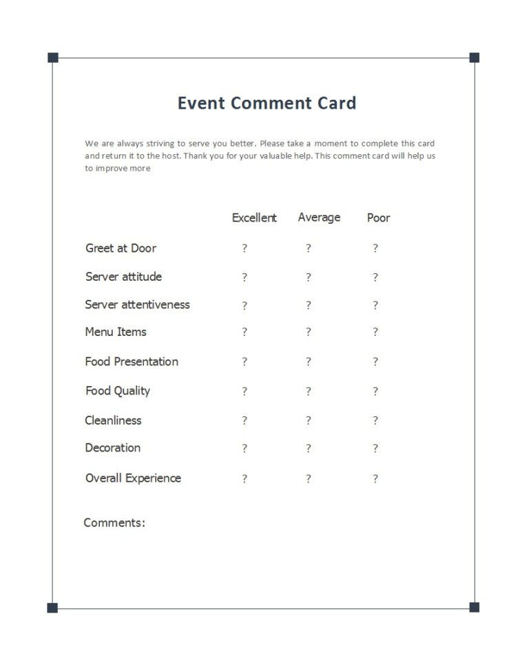 Image Result For Restaurant Easy Feedback Comment Card Card Template Labels Printables Free Templates Good Essay
