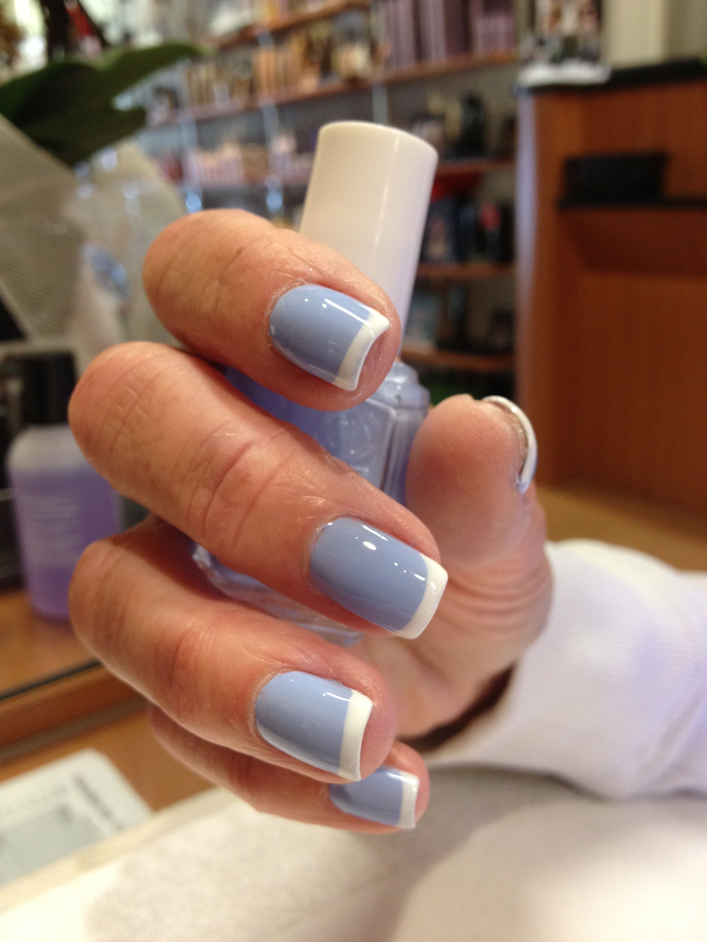 Blue French Manicure Rounded Acrylic Nails French Tip Nails Acrylic Nail Designs