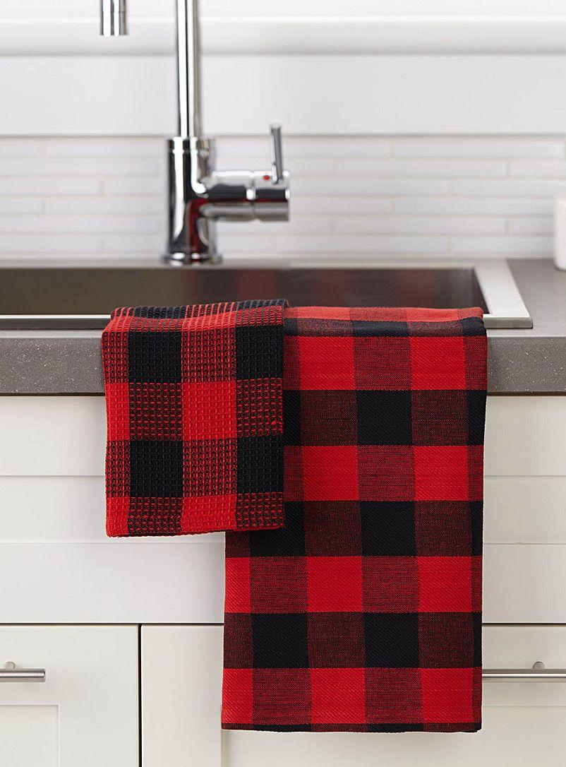 Buffalo Check Tea Towels Red Kitchen Decor Black Red Kitchen