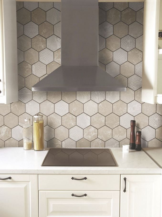 a warmer tone to hex backsplash. Kitchen backsplash tile - Like The Way The Wall Tile Goes All The Way Up And Around The