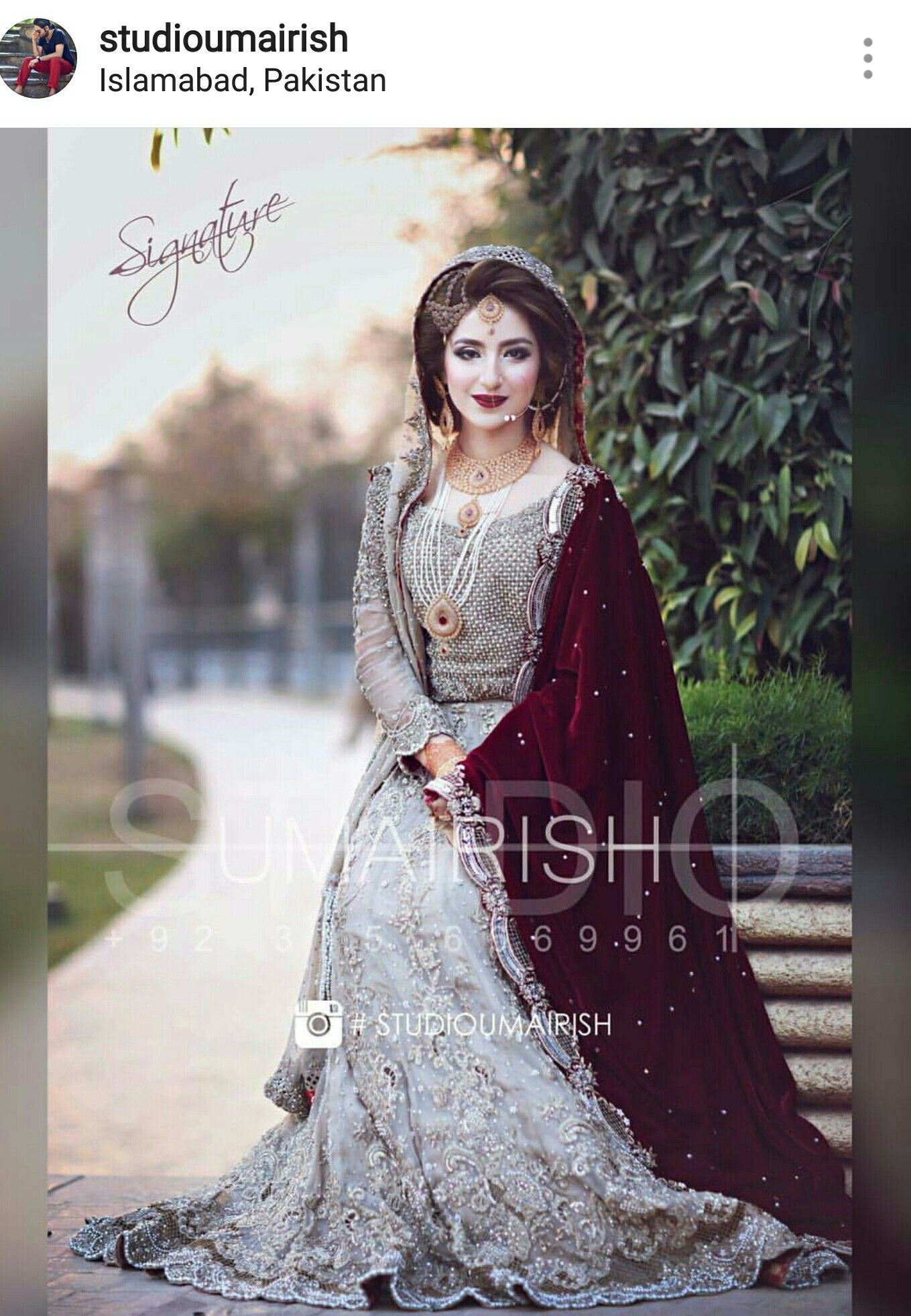 be60968a40 Grey maroon pakistani wedding outfit. Simple and impressive look. Bridal  Lehenga, Pakistani Bridal