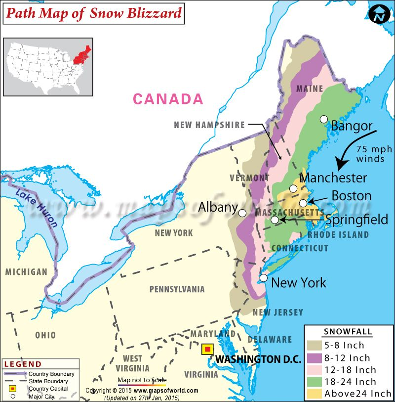 Path Map Of Snow Blizzard That Hits Northeast US Httpwww - Map of northeastern us and canada