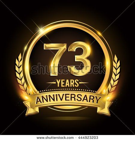 Celebrating 73 years anniversary logo with golden ring and ribbon, laurel wreath vector design. - stock vector