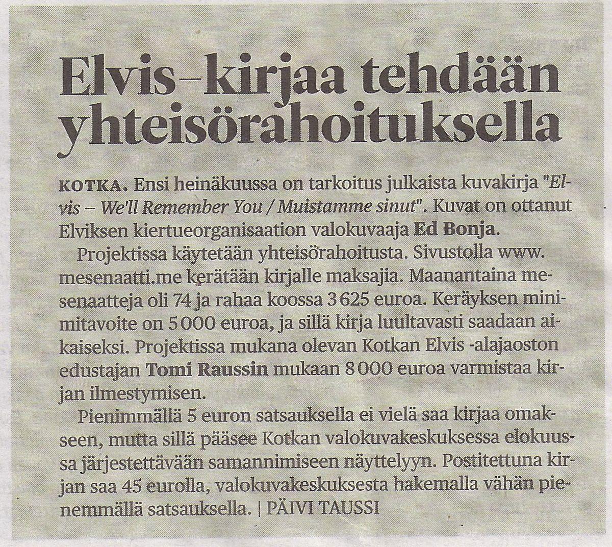 Taas uutiskynnys on ylitetty! Tällä kertaa Kymen Sanomat uutisoi EWRY-projektista.