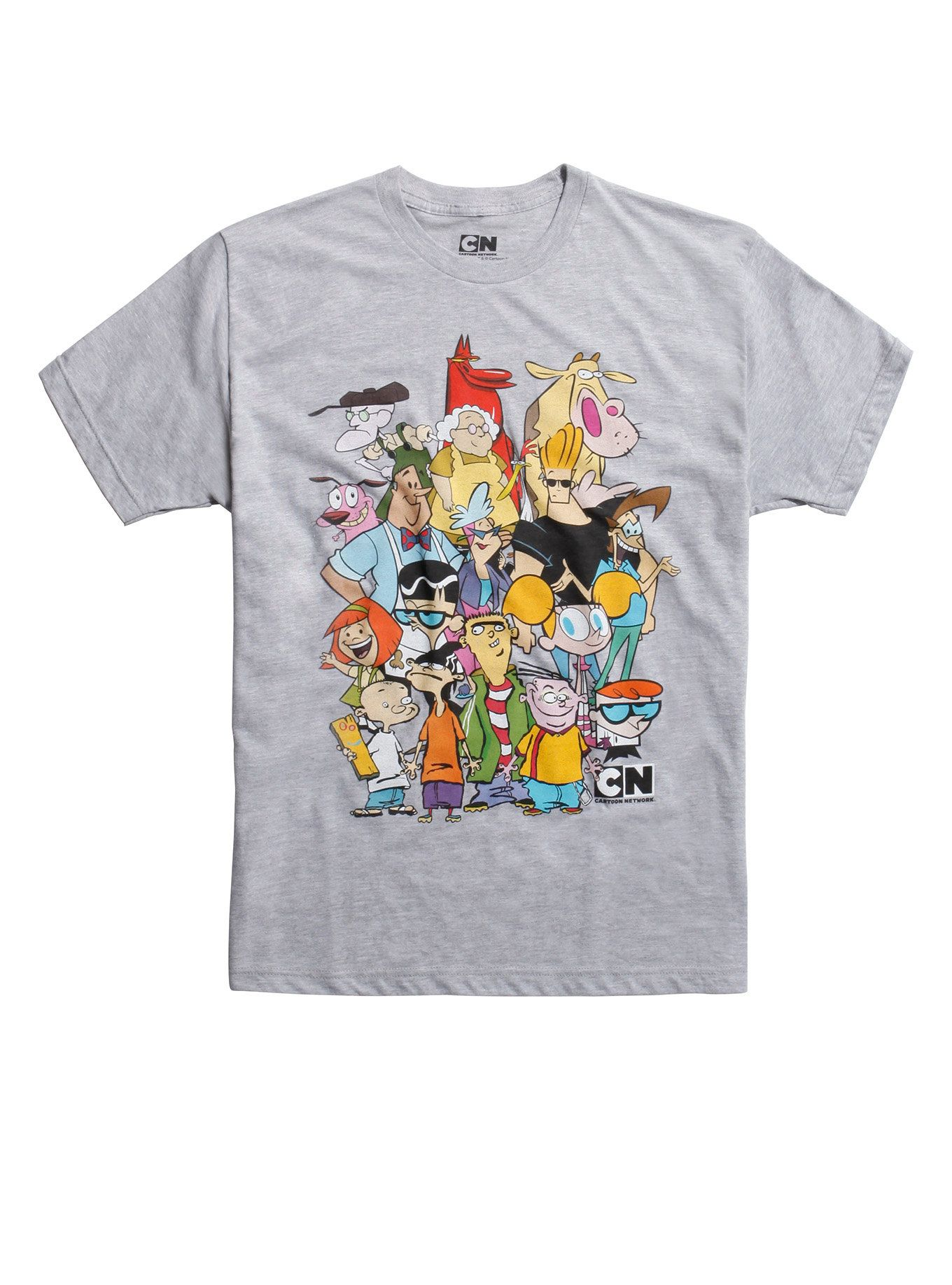 Heather grey T-shirt from Cartoon Network with a large collage design on  front featuring all of your favorite characters from days of yore ffefb3343616