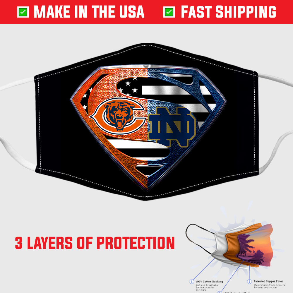 Chicago Bears And Notre Dame Diamond American Flag Superman Face Mask In 2020 American Flag Chicago Bears Face Mask