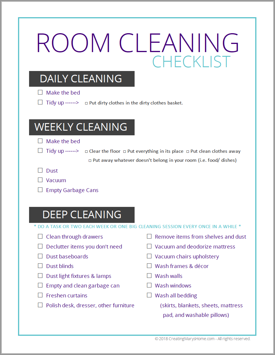 Room Cleaning Checklist (for tweens & teens images