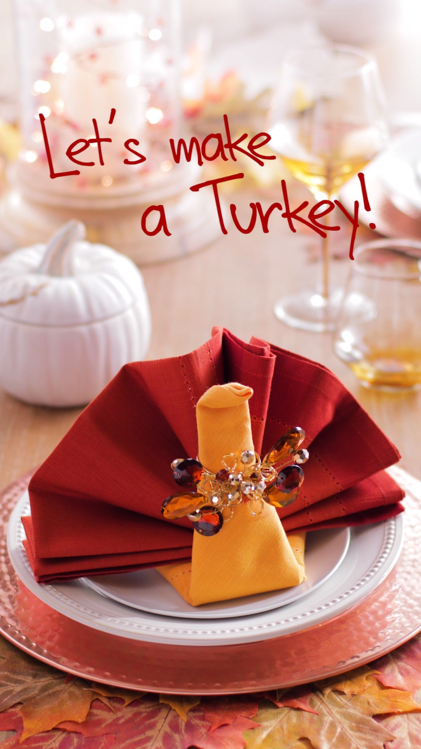 The art of entertaining: You can impress your Thanksgiving guests if you know how to carve a turkey, but we bet they'd be really amazed if you know how to fold a turkey! #foldingnapkins
