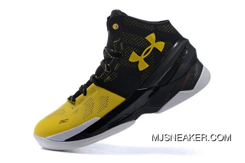 fa47da1040b Top Deals Under Armour Curry 2 Signature Black Yellow White Basketball Shoes