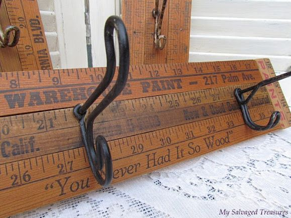 Old Yardsticks & Hooks...re-purposed into a prim wall hanger!! Knick of Time: Guest Post - Betsy @ My Salvaged Treasures. Instructions included.
