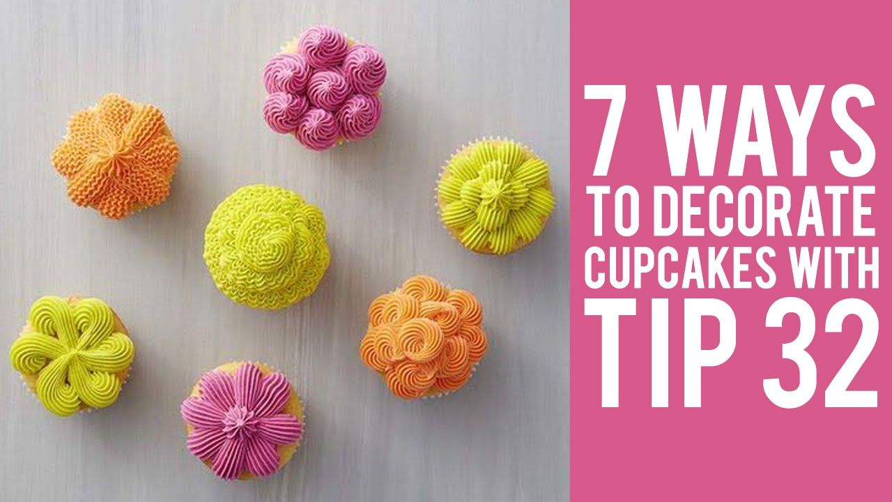 Learn How To Pipe 7 Buttercream Designs On Cupcakes With Decorating Tip 32.  Get The