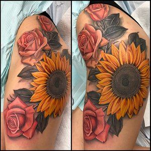 Image Result For Sunflower And Rose Tattoo Sunflower Tattoo Thigh Tattoos Sunflower Tattoo Shoulder