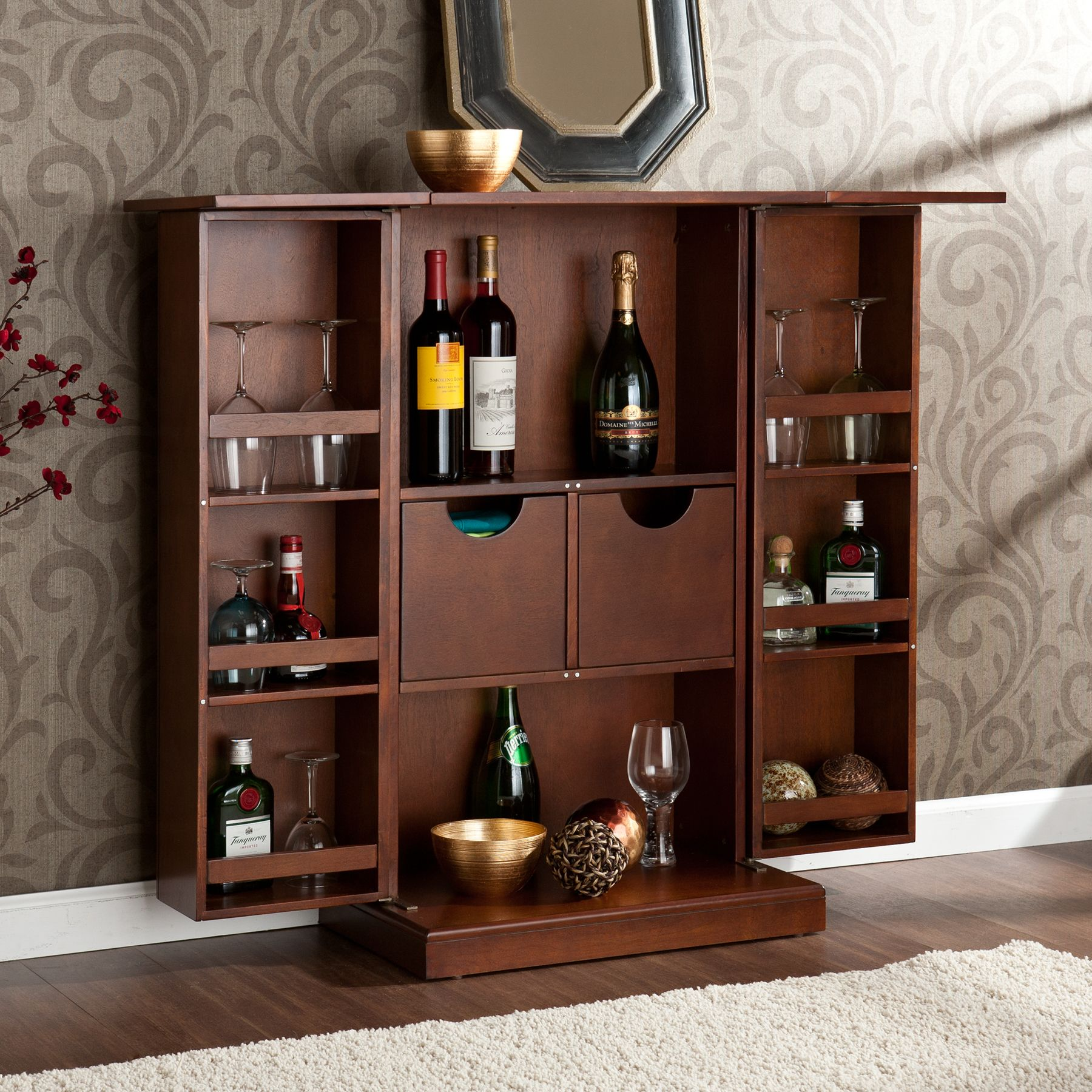 Mini Bar Cabinet Design Ideas - http://www.thedomainfairy.com/