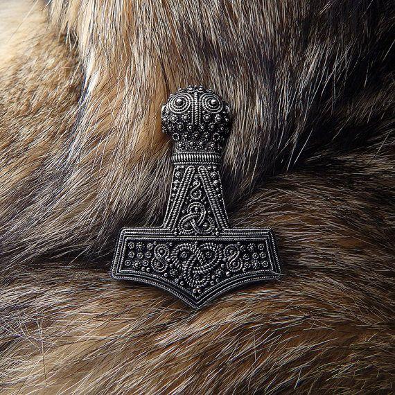 Replica Bredsatra Thors Hammer. Mjolnir. Sterling silver Thor Hammer. Thor's Mjöllnir. Viking Pendant. Thors Hammers. Öland, Sweden.