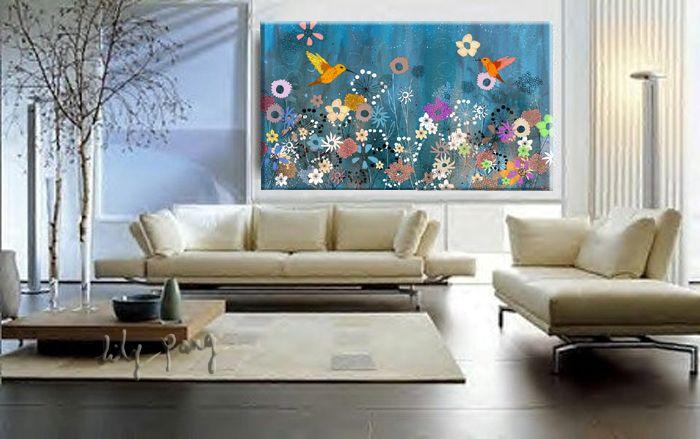 Lily Pang Art and Design: Hummingbirds Blue Large Print