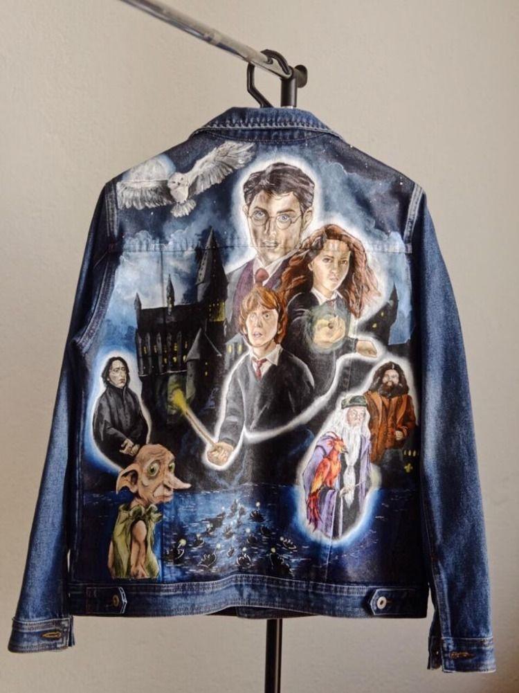 Harry Potter Handpainted Jean Jacket Одежда, Куртка, Платья