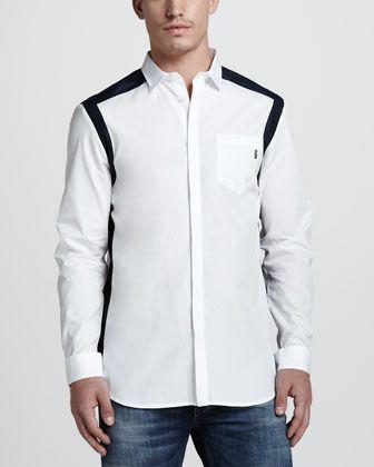 Pierre Balmain Knit Biker Jacket, Colorblock Sport Shirt & Skinny Blue Jeans - Neiman Marcus