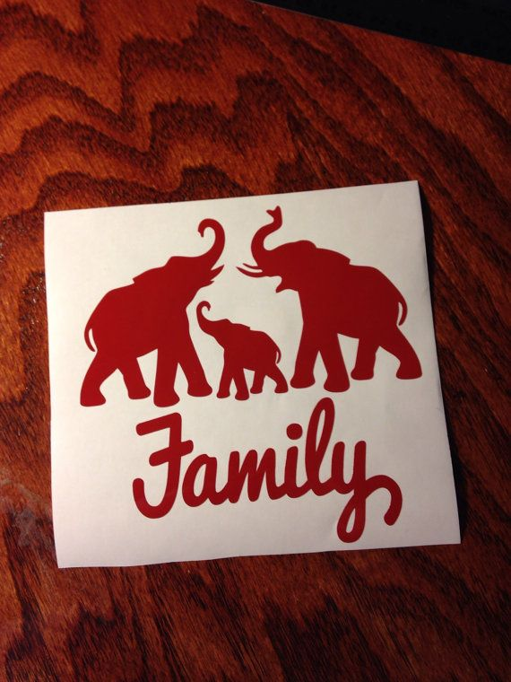 Elephant family car decal alabama roll tide by jennsoutherngrace