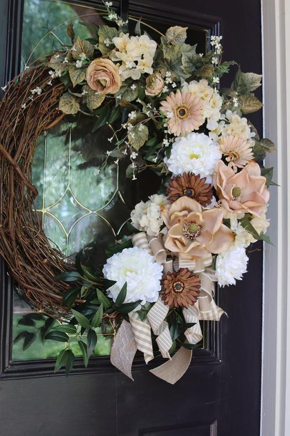 Photo of Front Door wreath with Magnolias, Shabby Chic Decor, Large Double Door Magnolia wreath, Spring Door wreath, Farmhouse wreath, Rustic Country