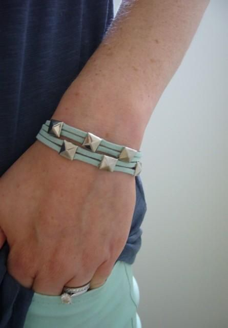 DIY  suede cord and studds bracelet
