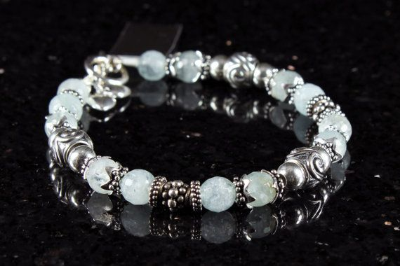 Aquamarine bracelet with sterling silver aqua by AliraTreasures