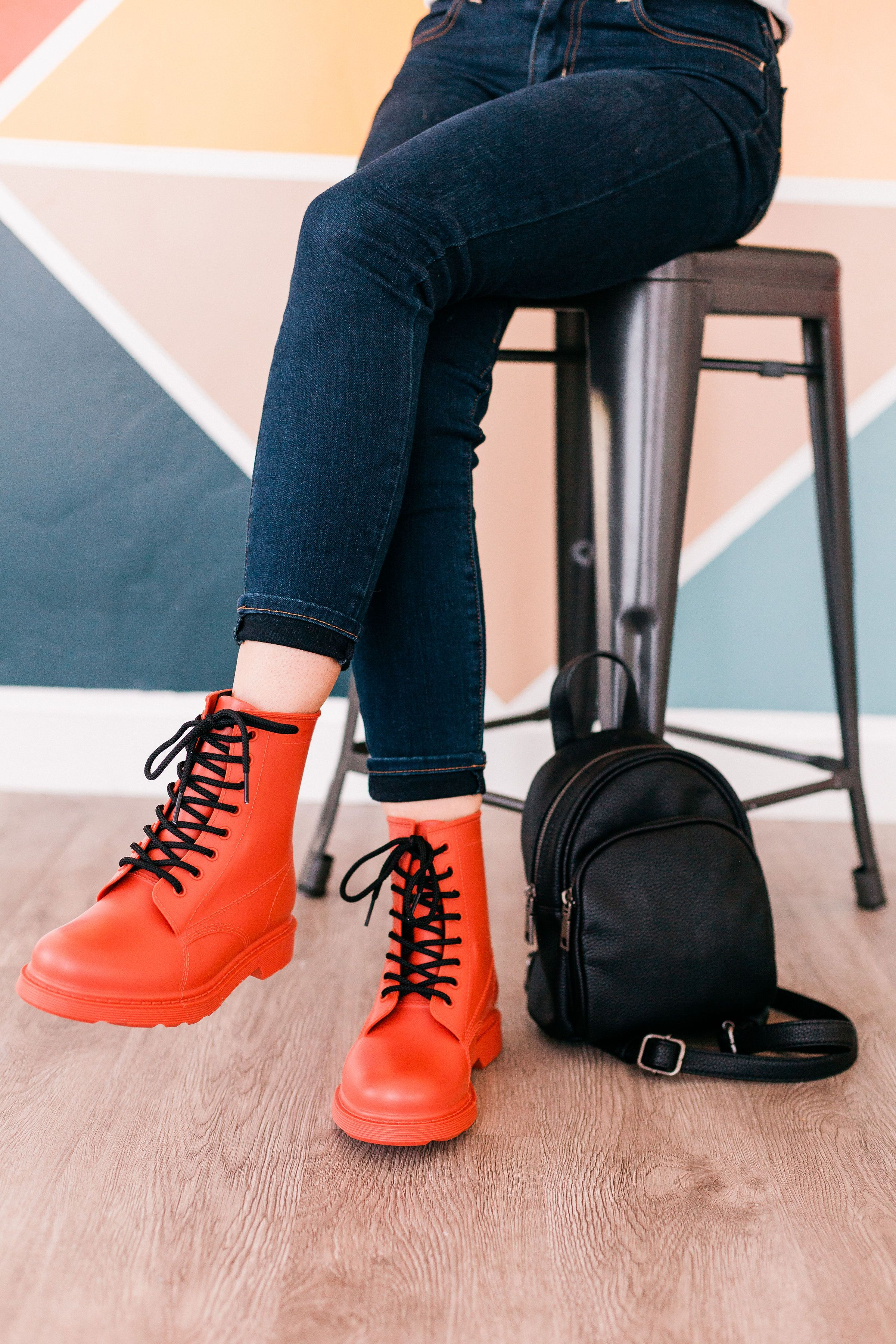 Women's Ash Coral Lace Up Combat Rain Ankle Bootie With Black Laces - Feed The Addiction - Forever Young Shoes
