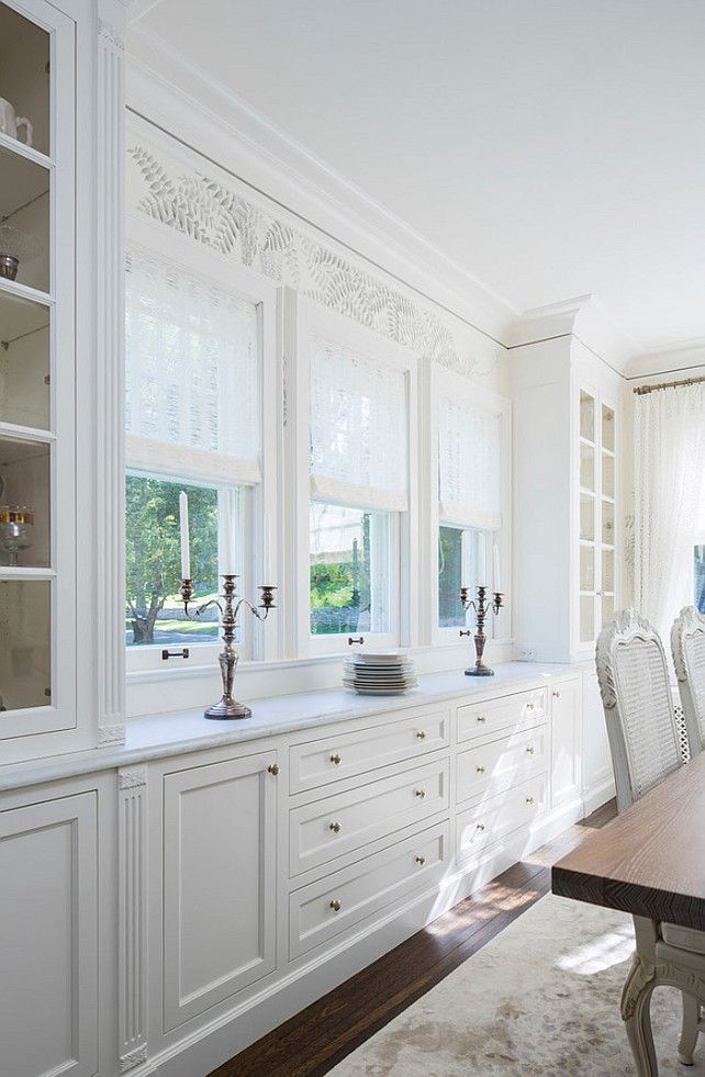 dining room built in cabinet painted in bm white dove and lincoln gold vein marble - Dining Room Built Ins