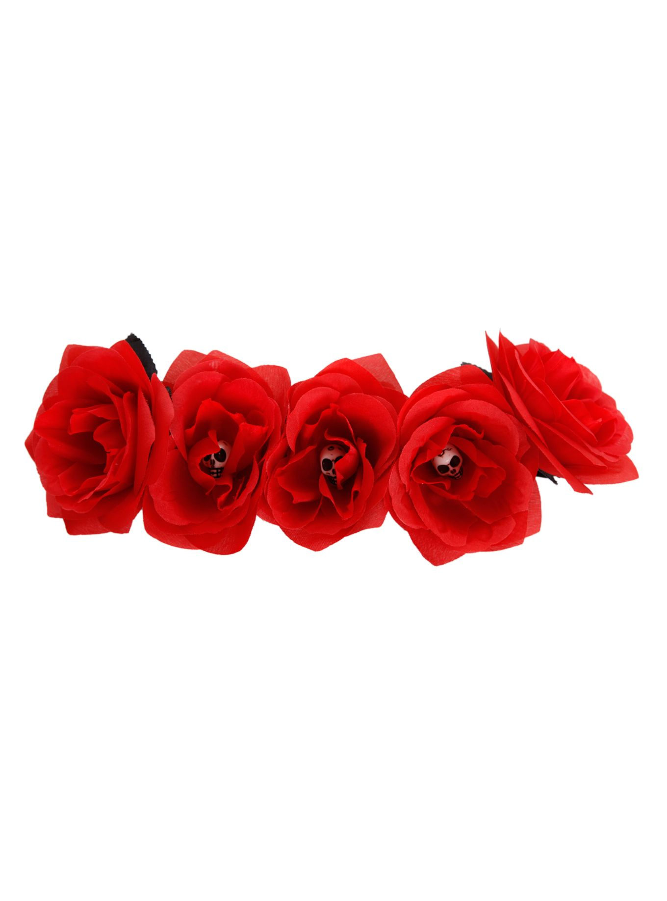 Red Rose And Skull Stretch Headband Hot Topic Flower Crowns