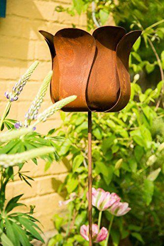 Gartenstecker Rankstab Tulpe Blume Höhe: 130cm Ø 25cm Pflanzstecker  Gartenstab   Garten Ideen Gestaltung Garten