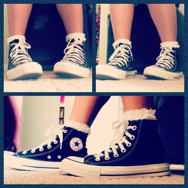 high top converse with ruffle socks