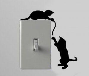 Two Cats Playing With A Ball Of String Light Switch Wall Art Vinyl - Vinyl decal cat pinterest